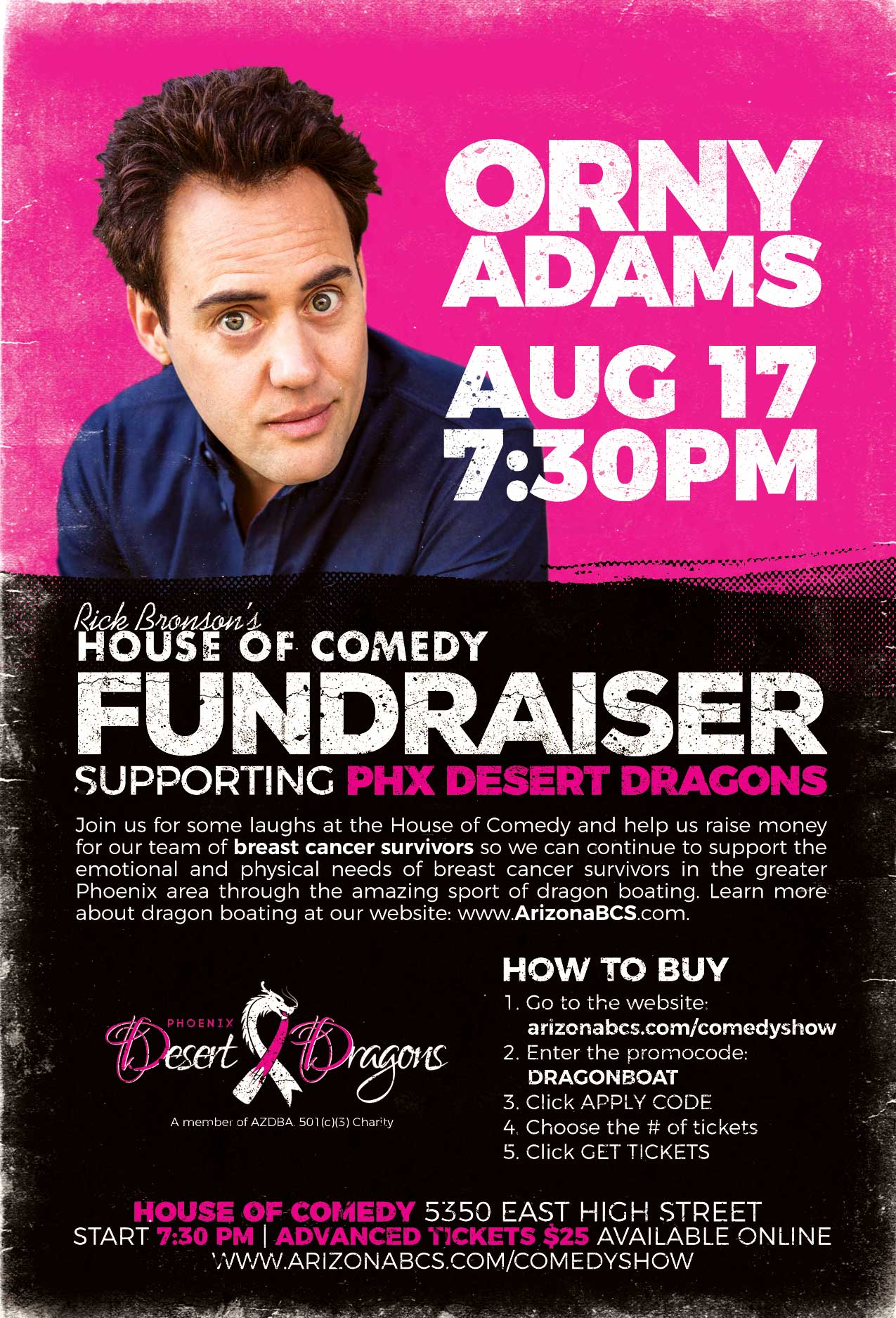 Fundraiser Orny Adams House of Comedy